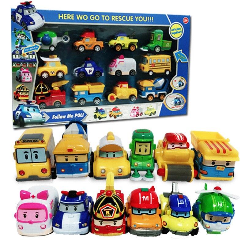 8 pçs/caixa anime coreano super poli carro conjunto dos desenhos animados bonito robô polícia puxar para trás modelo de carro crianças brinquedo oyuncak presente aniversário do bebê