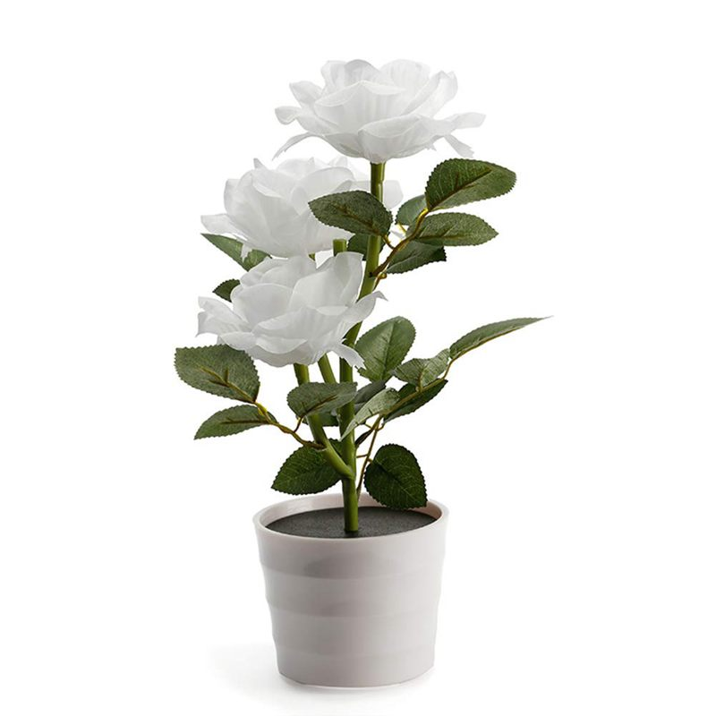 Led Artificial Plant Rose Balcony Lawn Garden Table Lamp Home Decorative Bedside Solar Powered Bedroom Flower Pot White