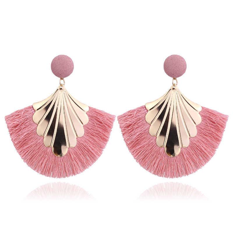 2019 couleurs pendentif suspendu rond boucles d'oreilles femme tissu gland boucle d'oreille ethnique bohème fantaisie frangé boucles d'oreille