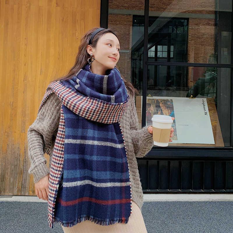 Mingjiebihuo Baru Tebal Hangat Musim Dingin Syal Wanita Syal Fashion Temperamen Segar Plaid Nyaman Lembut Dua Sisi Manis Selendang