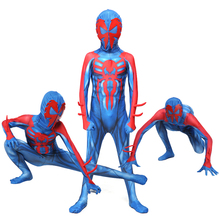 Kids Spider-Man 2099 Miguel O'Hara Spideran Cosplay Costume Zentai Spider Man Superhero Halloween Suit Jumpsuits