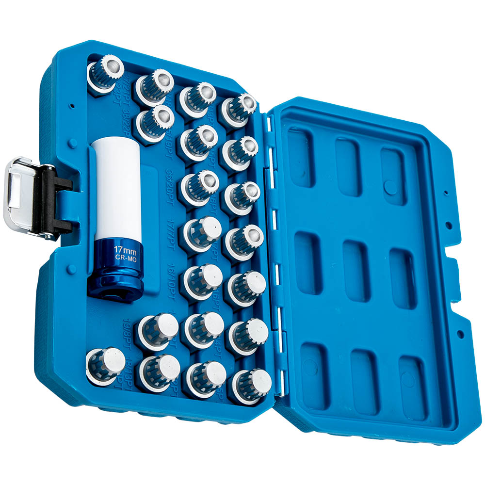 21Pcs Wheel Lock Lug nut Anti-theft Lug Nut Screw Removal Key Socket for BMW 1/2 inch 12.7mm Anti-Theft Removal Socket Kit