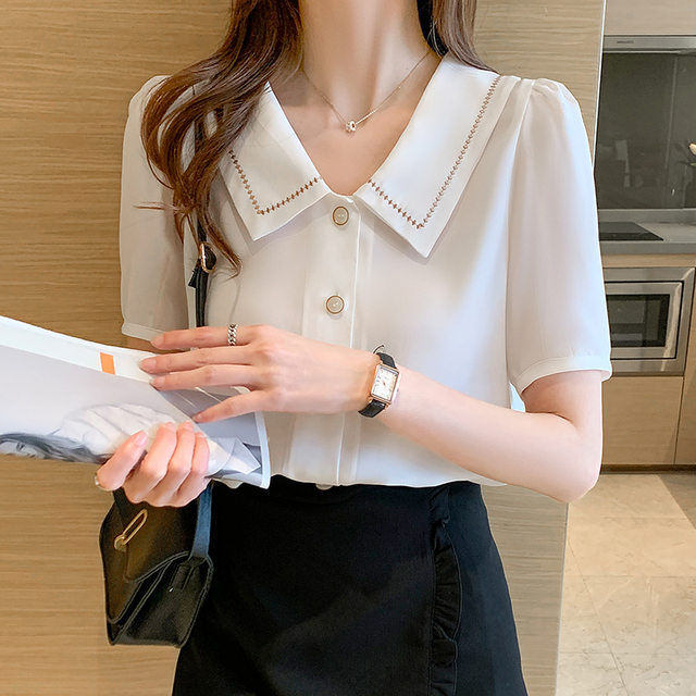 Blusas Blouses Femme Tops Women Turn Down Collar Blouse Women 2021 Summer White Blouse Short Sleeve Chiffon Blouse Shirt E778 4