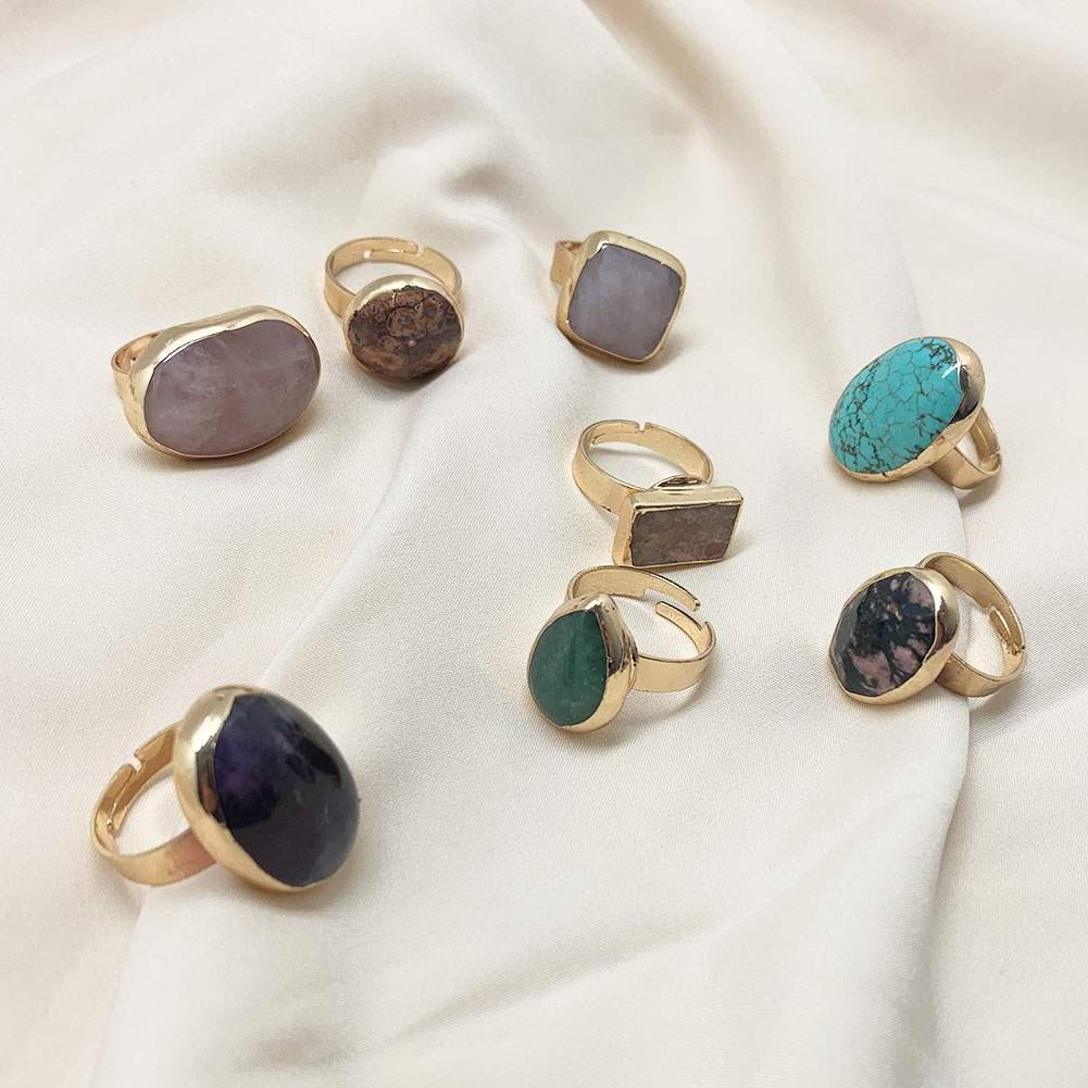 Момиджи Винтаж Большой капли воды в ретро-стиле с открытым естественные каменные кольца для женщин и девушек, кольцо на палец для вечеринки ...