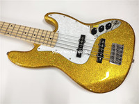 High quality heritage classic customized version 5 string electric bass gold large particle color free shipping