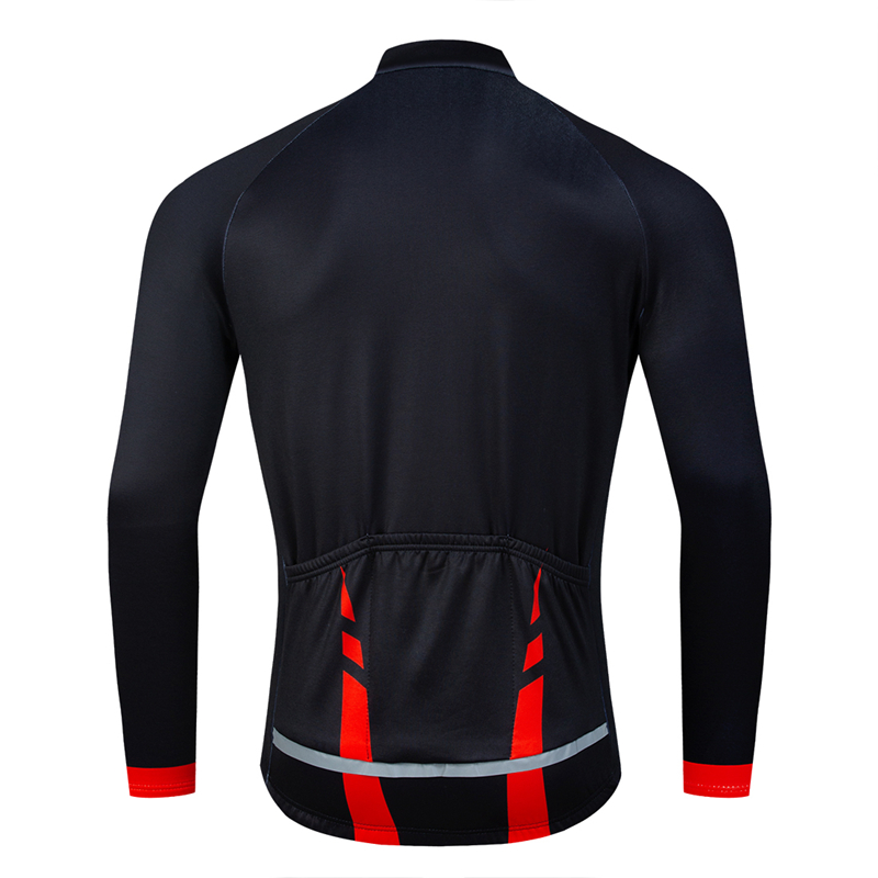 Todo o preto ciclismo jaquetas faixa reflexiva