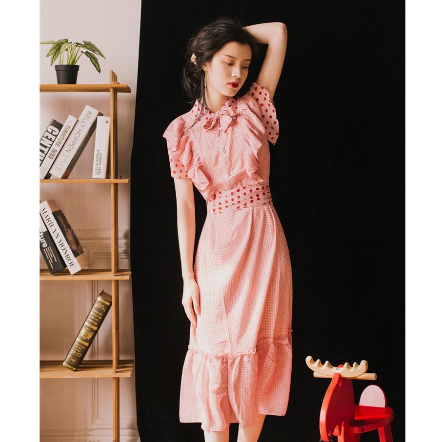 Mode femme doux filles fête bohème plage rose Vintage élégant Chic nœud point mousseline de soie robes 2019New été