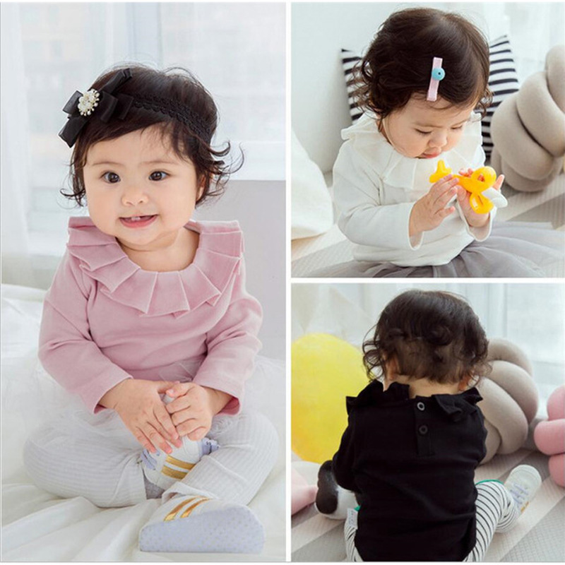 Spring Autumn <font><b>Baby</b></font> Girls t-<font><b>shirts</b></font> Long-sleeve Cotton Lotus Leaf Collar Solid Pure Color Cute Kids Girls <font><b>Basic</b></font> T <font><b>Shirts</b></font> LZ667 image