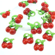 10pcs/lot Murano Lampwork Red Cherry Glass Beads Charms For Earring Necklace Jewelry Making(China)