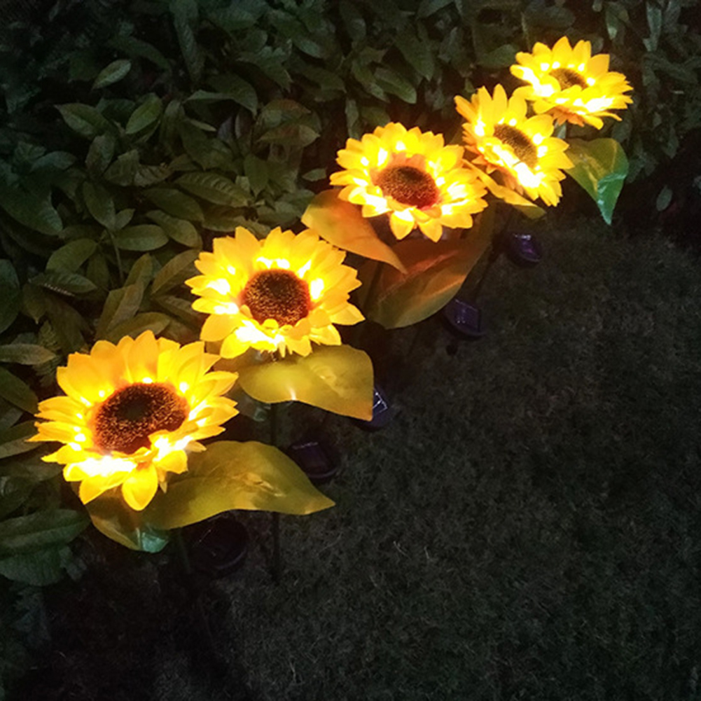 2 шт., искусственные Подсолнухи, светодиодные лампы на солнечных лужайках, водонепроницаемые наружные светильники, садовые украшения, солнечная Светодиодная лампа, солнечный цветок|Газонные лампы|   | АлиЭкспресс
