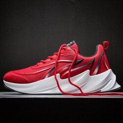 Oddychające buty do biegania nowe wygodne buty sportowe Shark Bottom modne oświetlenie męskie buty Walking Jogging obuwie