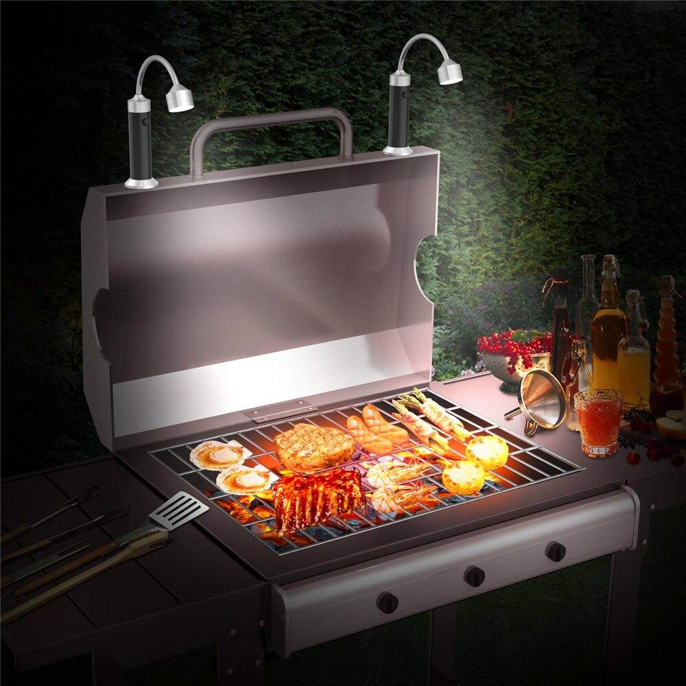 2pc Barbecue Grill Bbq Lights Magnetic Base Adjustable Battery Super Bright Reading Light Gooseneck Led Lights Outdoor Lighting
