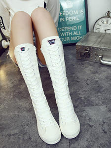 Autumn Women Shoes Flat-Boots Spring Canvas Sneakers Lace-Up Zipper Comfortable Casual