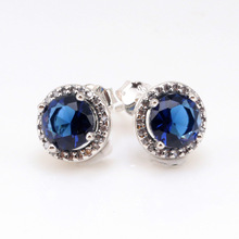 Original 925 Sterling Silver Pan Earrings Transparent Shine Blue Shine Crown Round pan Earring For Women Gift Jewelry