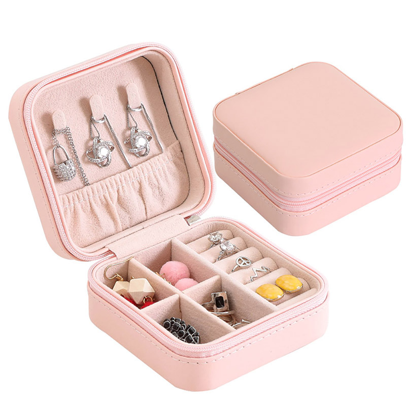 Valentine's Day Present Fashion Flannel Square Jewelry Box Simple Layout  Makeup Organizer Choker Ring Necklace Storage Box