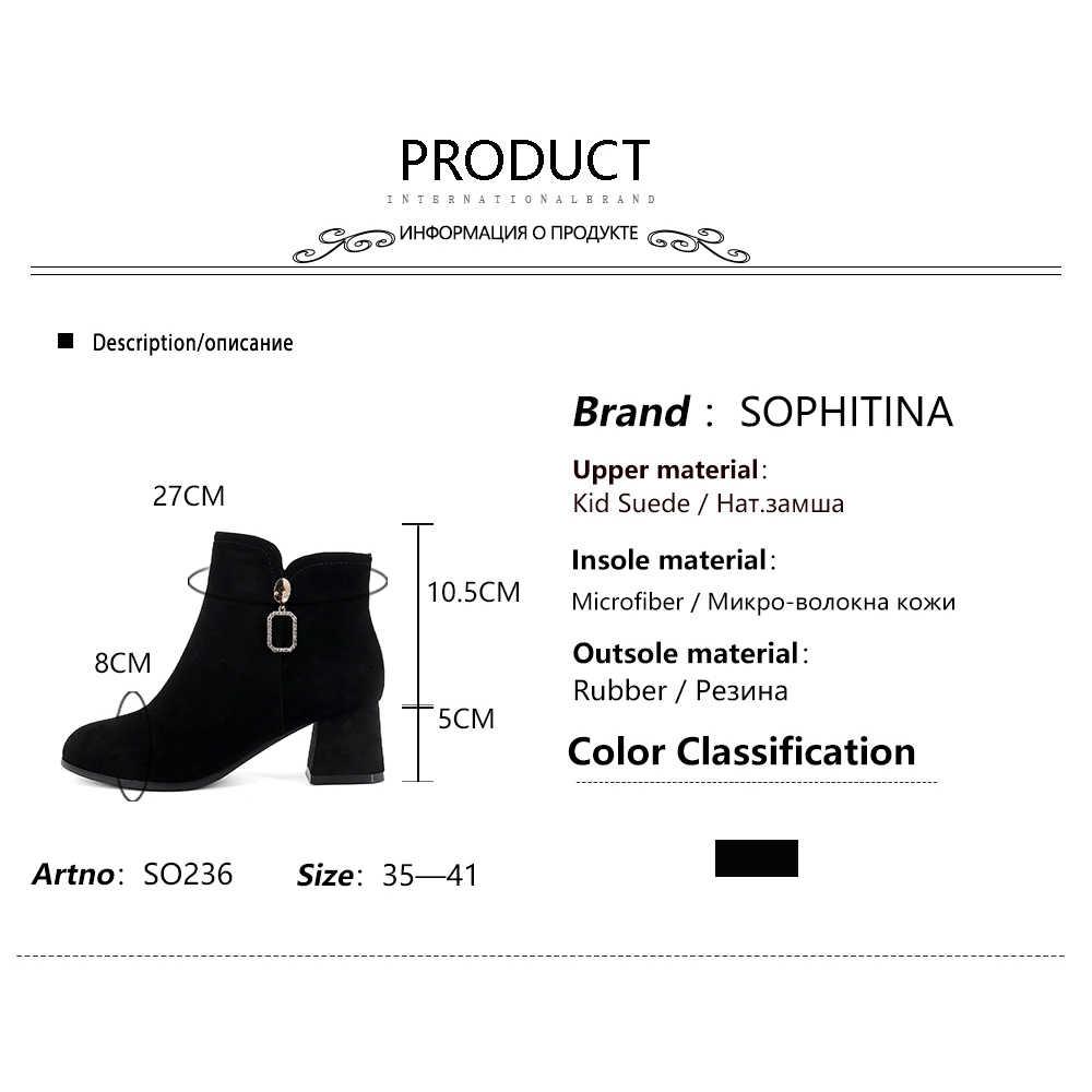 SOPHITINA botas de invierno informales para mujer Zapatos de tacón cuadrado de punta redonda con decoración de Metal nuevas botas de mujer de tacón con cremallera hechas a mano SO236