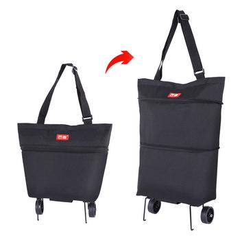 Kobieta torby na zakupy na wózek na zakupy koszyk na zakupy kosz na zakupy przyczepa przenośny wózek duże torby na zakupy składana torebka tanie i dobre opinie USDROPSHIP CN (pochodzenie) Oxford Plaid zipper A015 Na co dzień