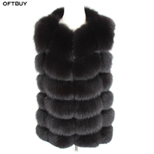 OFTBUY 2020 New Spring Winter Jacket Women Real Fox Fur Sleeveless Vest Coat black V neck Thick Warm Streetwear Outerwear Casual