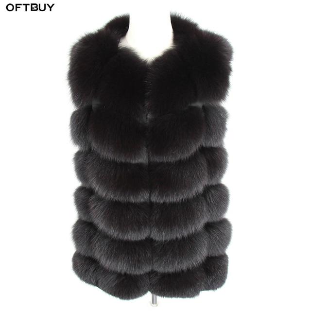 OFTBUY 2020 새 봄 겨울 자켓 여성 리얼 폭스 모피 민소매 조끼 코트 블랙 v 넥 두꺼운 따뜻한 Streetwear 겉옷 캐주얼