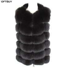 Oftbuy 2020 新春冬のジャケットの女性本物のキツネの毛皮のノースリーブベストコート黒 v ネック厚く暖かいストリート上着カジュアル