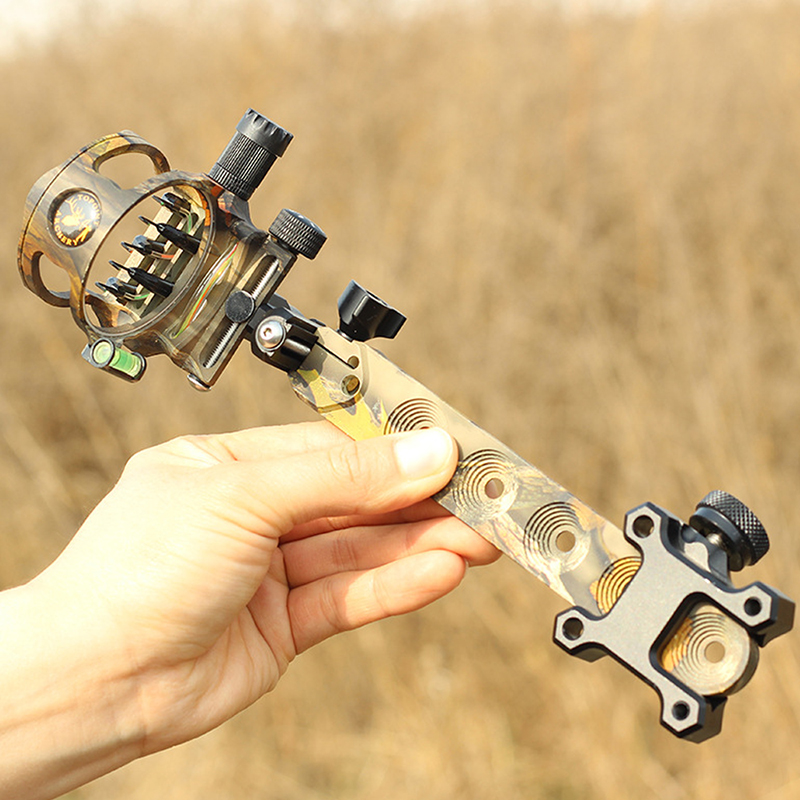 1pc Archery Sight 5 Pin 019 Compound Bow Micro Adjustable Optical Fiber Retina Aiming Tool Shooting Accessories in Bow Arrow from Sports Entertainment