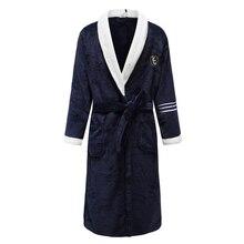 Мужская зимняя Пижама с поясом мужская теплая Домашняя одежда кимоно купальный Халат коралловый флис Домашняя одежда интимное нижнее белье
