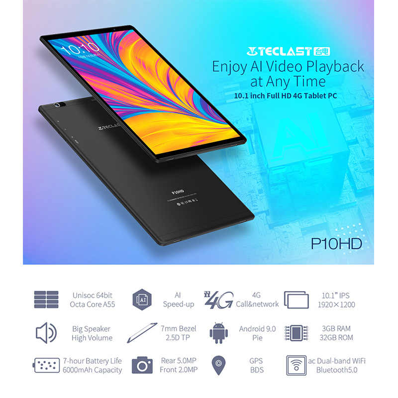 """Teclast P10HD 10.1 """"Android 9.0 Tablet 1920X1200 SC9863A Octa Core 3GB RAM 32GB ROM 4G Jaringan Kecepatan Ai-Up Tablet PC Dual WIFI"""