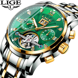 LIGE Genuine Watch Men Gold Green