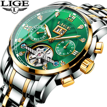 LIGE Genuine Watch Men Automatic Mechanical Tourbillon