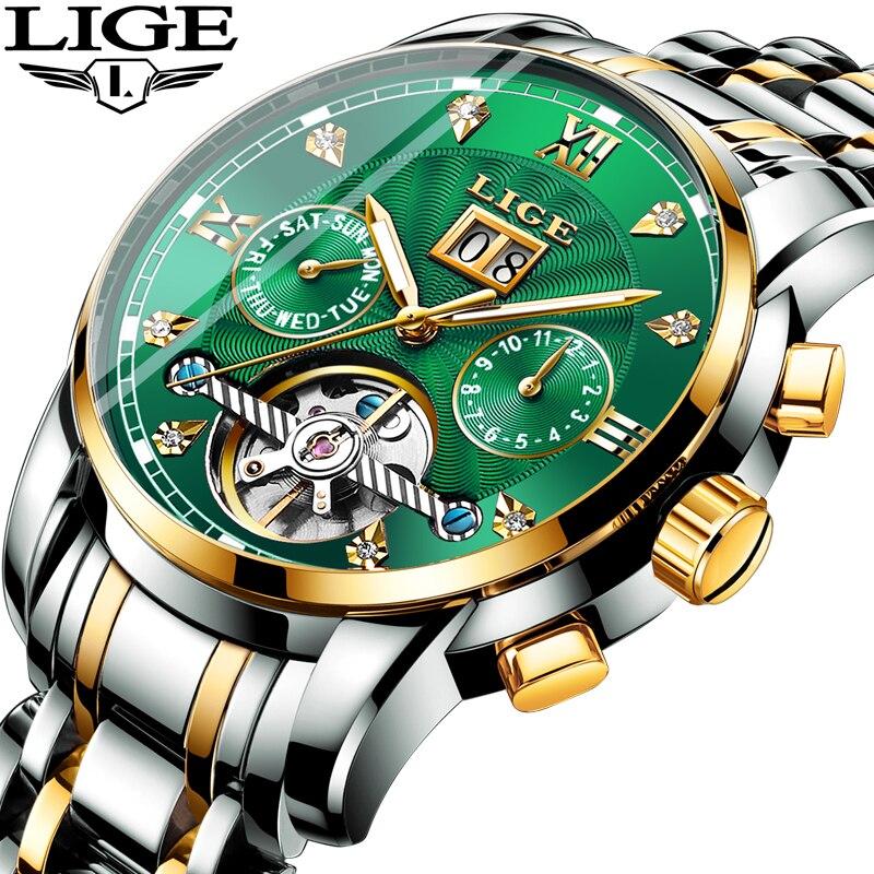 LIGE véritable montre hommes automatique mécanique Tourbillon montre de luxe en acier inoxydable Sport montres hommes Relogio Masculino
