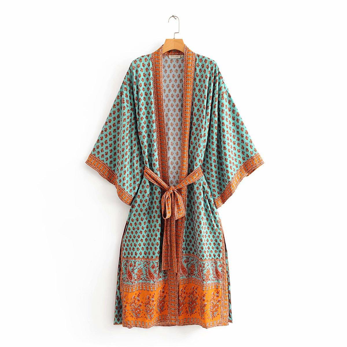Summer Dress 2020 Vintage Plus Size Pink Cashew Kimono Zaraing Women Women Shawl Cardigan Dress Sheining Vadiming Wdd60289