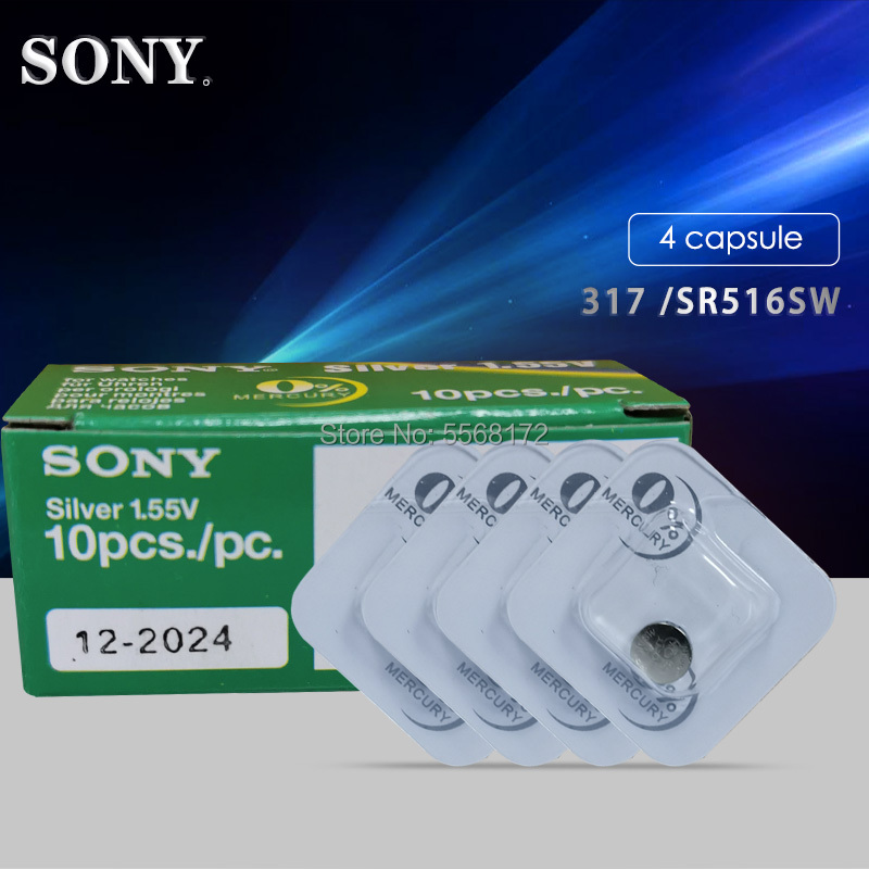 4pcs For Sony Silver Oxide Watch Battery 317 <font><b>SR516SW</b></font> 1.55V for Watch Battery Button Coin Cell image