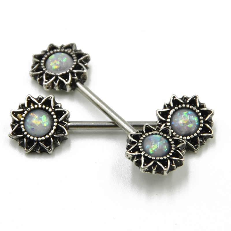 2Pcs 1.6*16 มม.14G ธรรมชาติหินสีเขียวหัวนมแหวนต่างหูปลอมโอปอล Nipple SHIELD แหวนเครื่องประดับของขวัญผู้หญิง