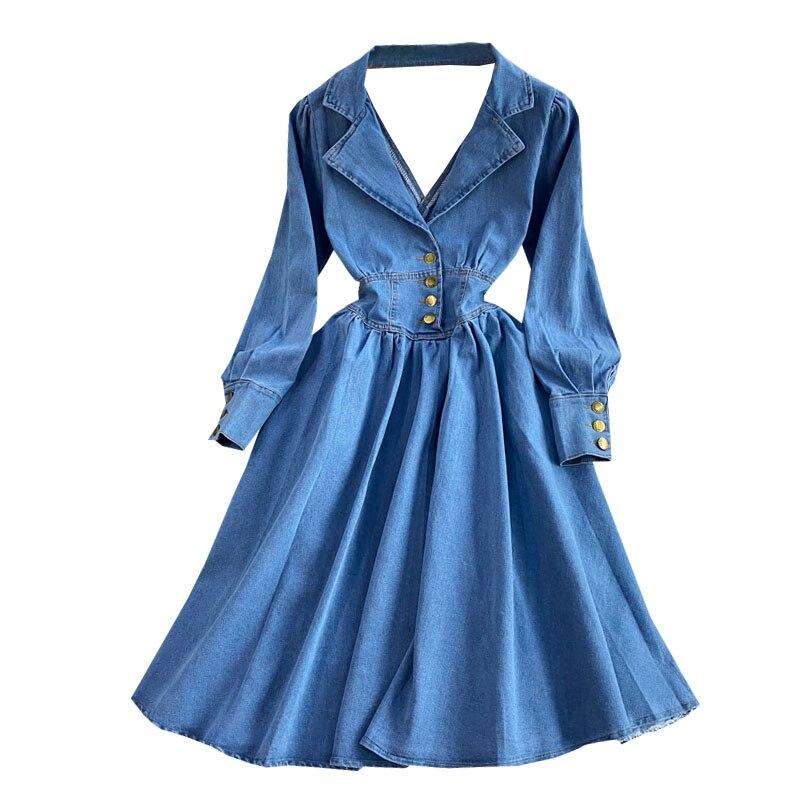 2021 Fashion New Spring Autumn Lapel V-neck Long Sleeve Open Back Denim Dress For Women Office Ladies Work Jeans Dresses Платье 37 Online shopping Bangladesh