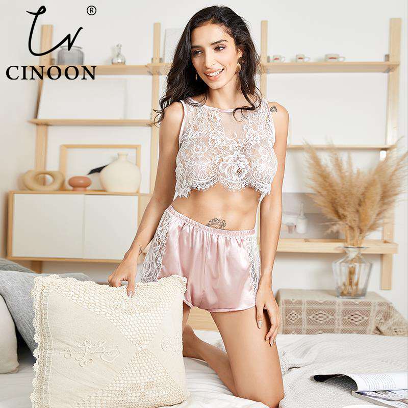 CINOON New  Women's Sexy Sleepwears Lace Sleeveless Pajamas Set Summer Flower Top And Silk Shorts Comfortable Nightwears