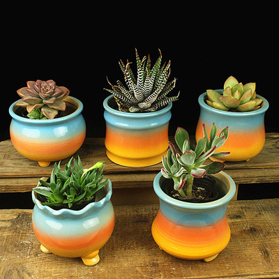 Rainbow Color Flower Pot Planter Bonsai Desktop Ornaments Ceramic Vase Home Office Decor Garden Supplies Succulent Pot Plant Pot