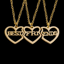 Gold Rose Gold 2 Color Alloy Chain Necklace 3 Heart Shape Letters Stitching Necklace Charm Birthday Jewelry Gift for Girl 2019 new fashion creative diy rose pendant gold alloy a rose necklace charm woman valentine s day plant chain necklace jewelry gift