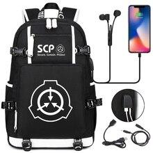 SCP Foundation рюкзак, черная книжная сумка, Мультяшные школьные сумки для подростков, детей SCP, дорожная сумка, USB сумка для ноутбука, сумки через п...