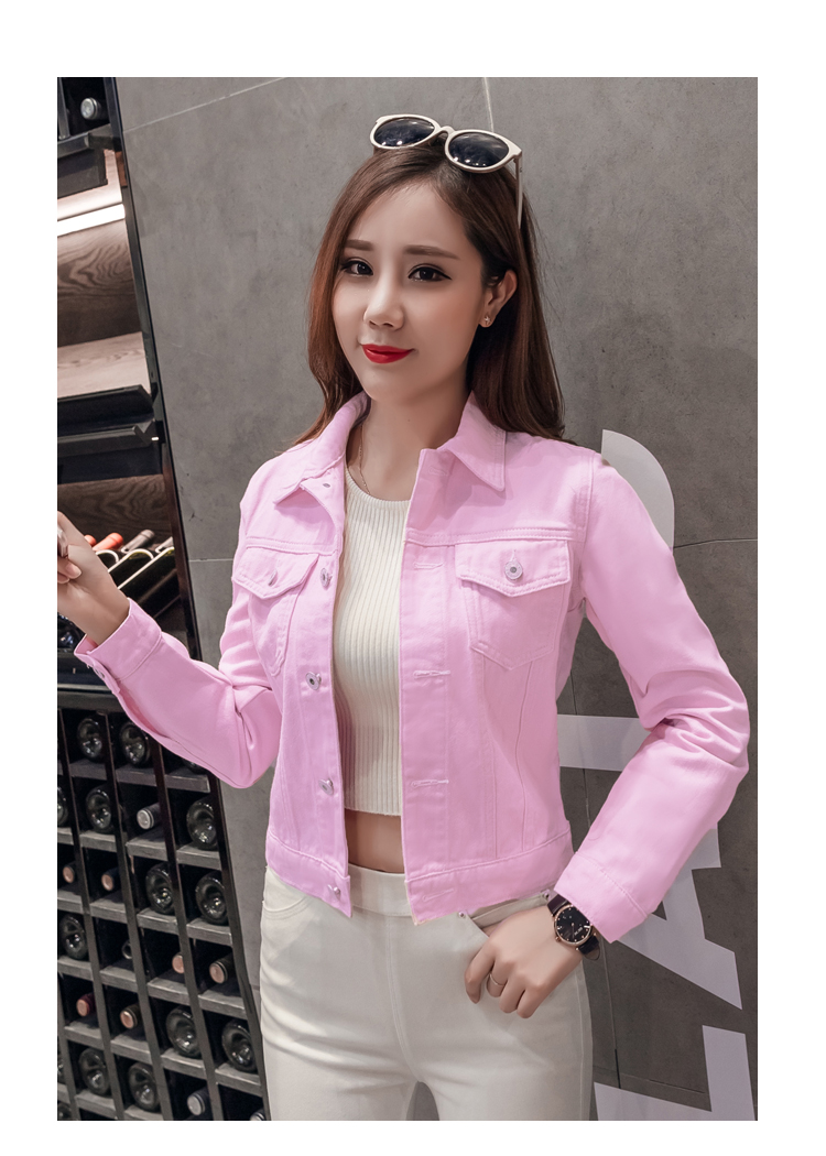 H81ab1a5b54e548c4935602886c7d70c7S 2019 Fashion Jeans Jacket Women Spring 2XL XL Spring Autumn Hand Brush Long Sleeve Stretch Short Denim Jacket White Pink Coats
