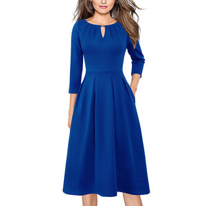 Image 1 - Vfemage Womens Autumn Elegant Pleated Keyhole Neck Pockets Work Business Office Casual Party Fit Flare Skater A Line Dress 5113