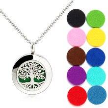 Collier diffuseur d'huile essentielle pour femmes, en acier inoxydable, pendentif de 20mm, parfum d'aromathérapie, médaillon avec 10 pièces, cadeau