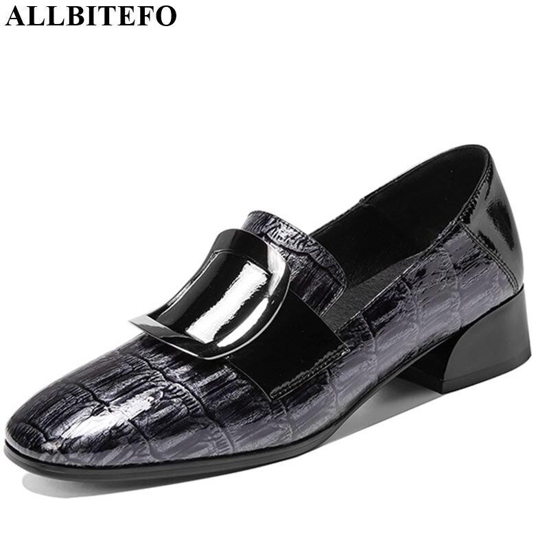 ALLBITEFO Natural Genuine Leather High Heel Shoes Spring Autumn Women Heels Metal Buckle Women Shoes High Heel Simple Style