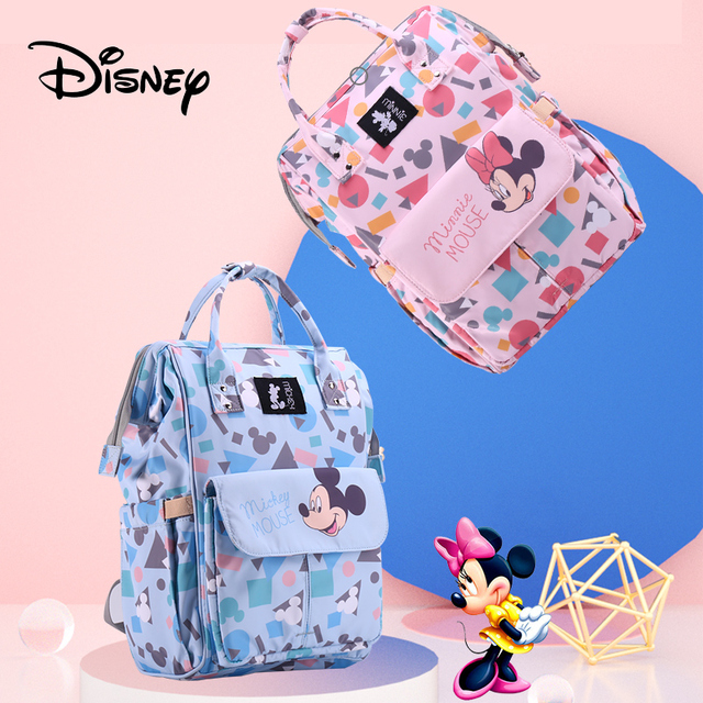 Disney Mickey Diaper Bags Waterproof Large Capacity Maternity Backpack for Mom Baby Care Mommy Stroller Travel Bag Organizer Bags Kids