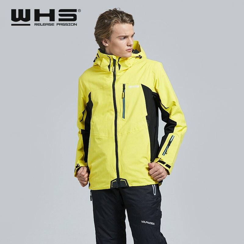WHS hommes vestes de Ski en plein air coupe-vent manteau chaud veste de neige mode impression mâle veste coupe-vent et imperméable