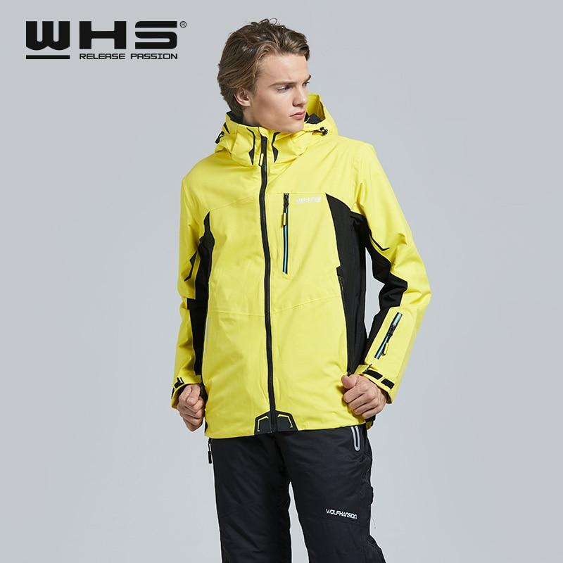 WHS Men Outdoor Ski Jackets Windproof Warm Coat  Snow Jacket Fashion Printing  Male  Jacket Windbreak And Waterproof