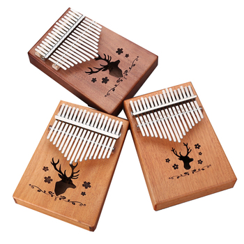 High-Quality Mahogany  17 Keys Kalimba Thumb Piano With Tuning hammer for beginner keyboard instrument Synthesizer