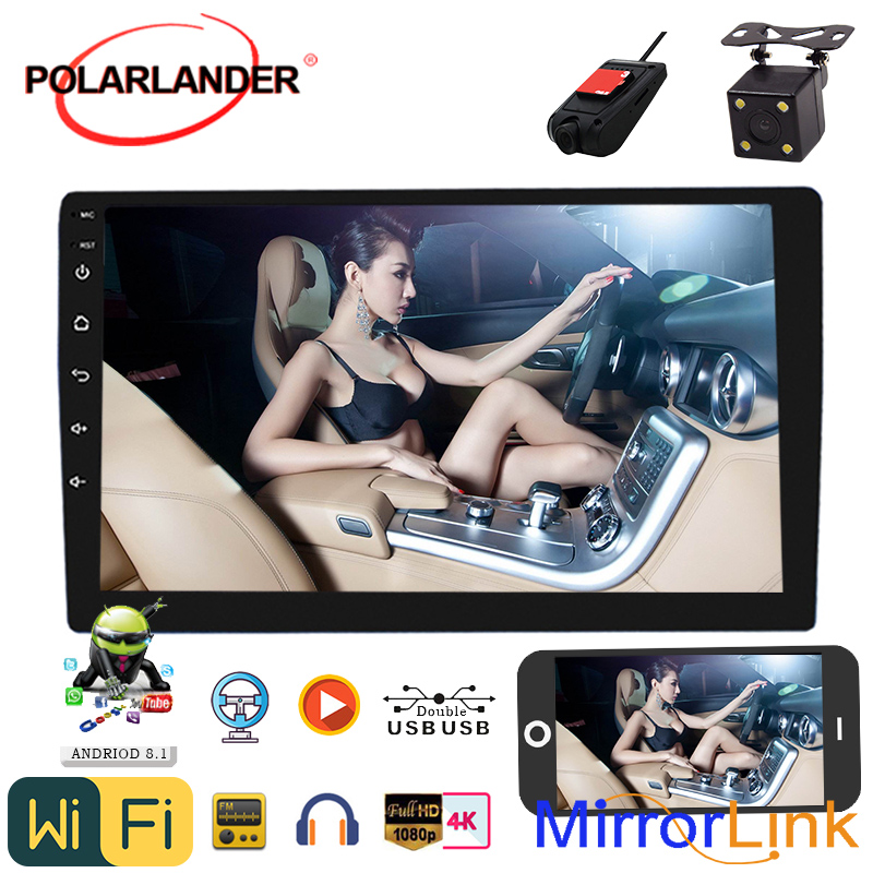 2 Din 9'Universal Android 8.1 Amplifier Bluetooth Quad Core Car Radio GPS Navigation Stereo Mirrorlink Carplay Android Auto