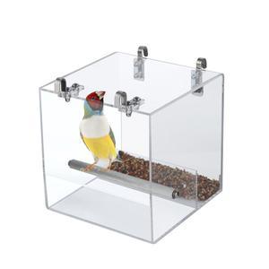 Акриловая кормушка для птиц, автоматическая кормушка для попугаев, нержавеющая сталь, пилка, коготь, подставка, удочка для птиц, контейнер д...