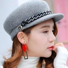 100% Wool Gray Black Winter Hat Warm Wool HatWomen Fashion Chain Newsboy Caps Hat Female