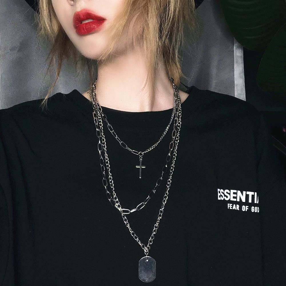 New Multi-Layer Long Chain Necklace Punk Cross Pendant Necklace For Women Men Metal Silver  Chains Hip Hop Goth Jewelry Gifts